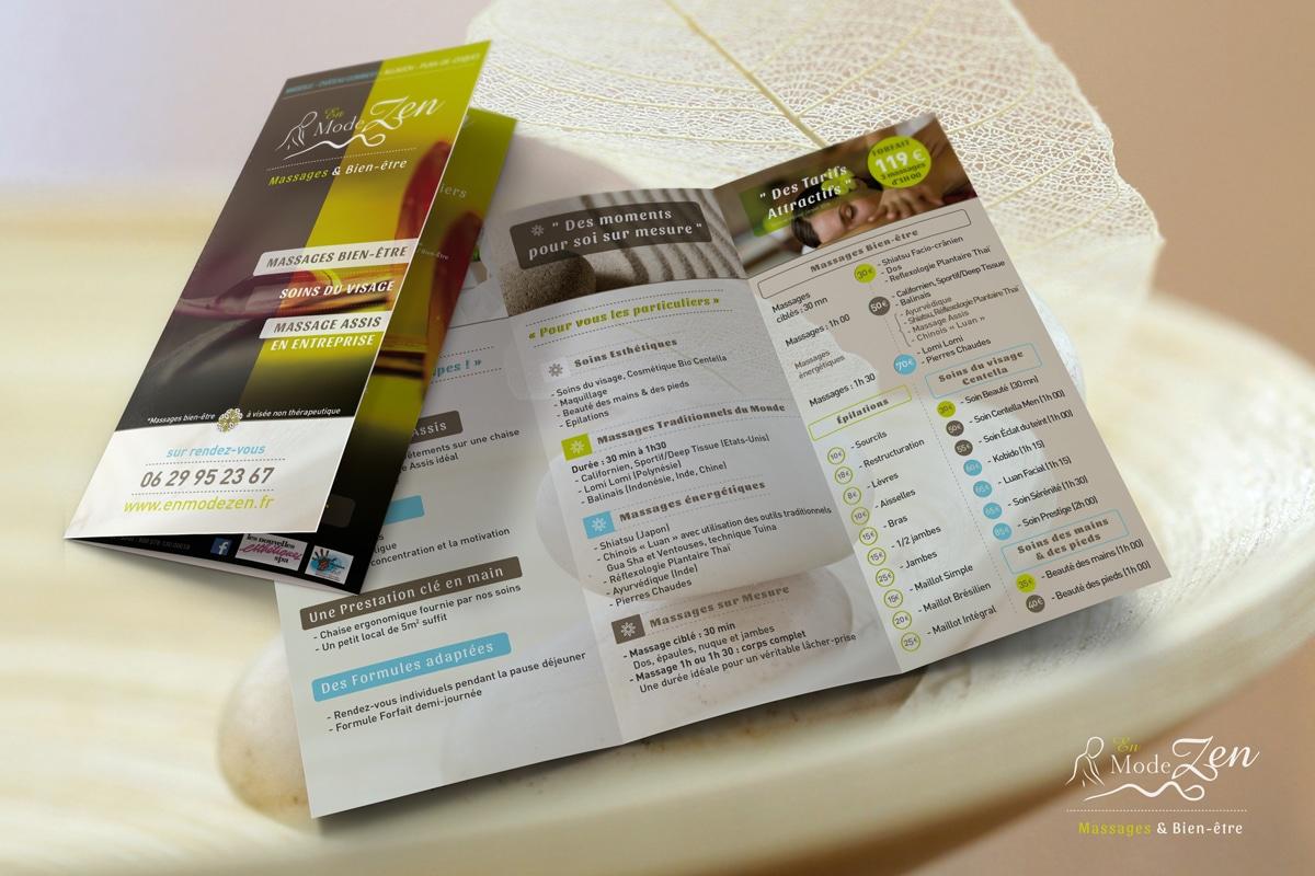 Voici la conception d'un flyer réalisé pour une institut de massage et beauté basé dans les Bouches-du-Rhône et le Vaucluse (Avignon)