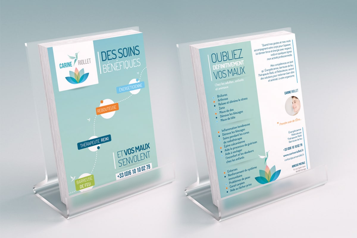 Réalisation graphique flyer pour Carine Riollet Rebouteuse, thérapeute Reiki, Magnétiseuse et Energeticienne basée à Orange et à Avignon