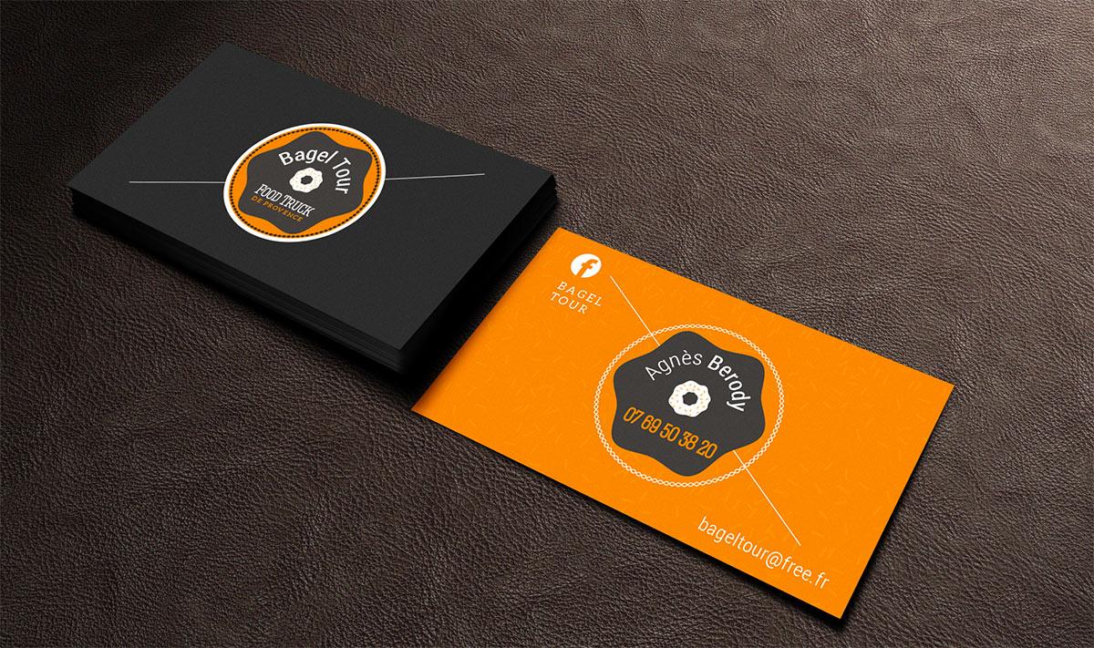 Food truck Bagel-tour- Création carte de visite et conception logo graphique a avignon identite visuelle charte graphique dans le Vaucluse 84000